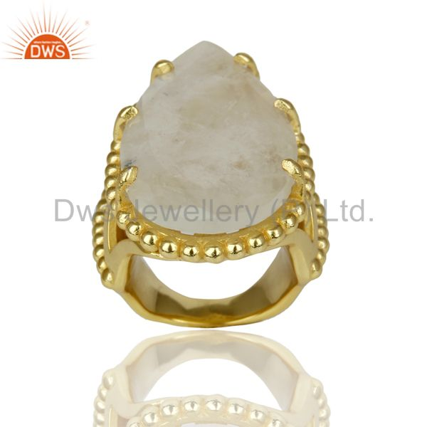 14K Yellow Gold Plated Handmade Rainbow Moonstone Gemstone Statement Ring