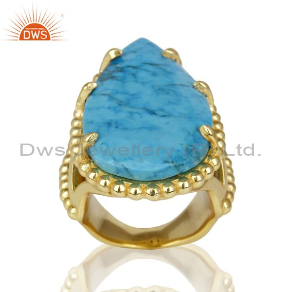 14K Gold Plated Handmade Turquoise Prong Setting Statement Ring