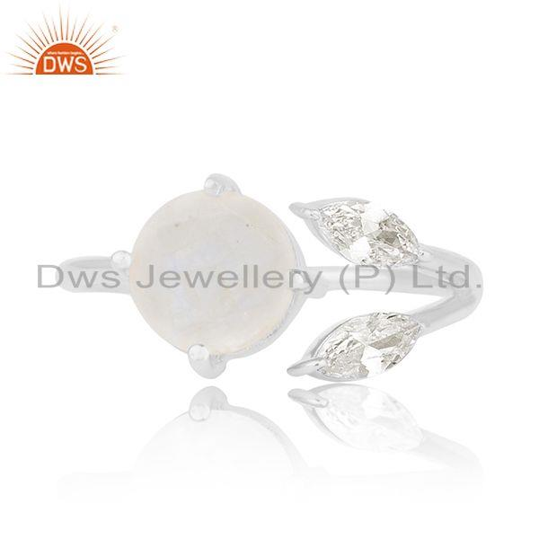 Zircon and Rainbow Moonstone Silver Plated Brass Fashion Designer Ring Suppliers