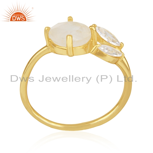 Rainbow Moonstone and Cz 18k Gold Plated Designer Fashion Ring Manufacturer