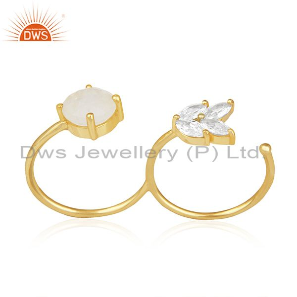 Rainbow Moonstone Fashion Gold Plated Brass Double Finger Ring Manufacturer