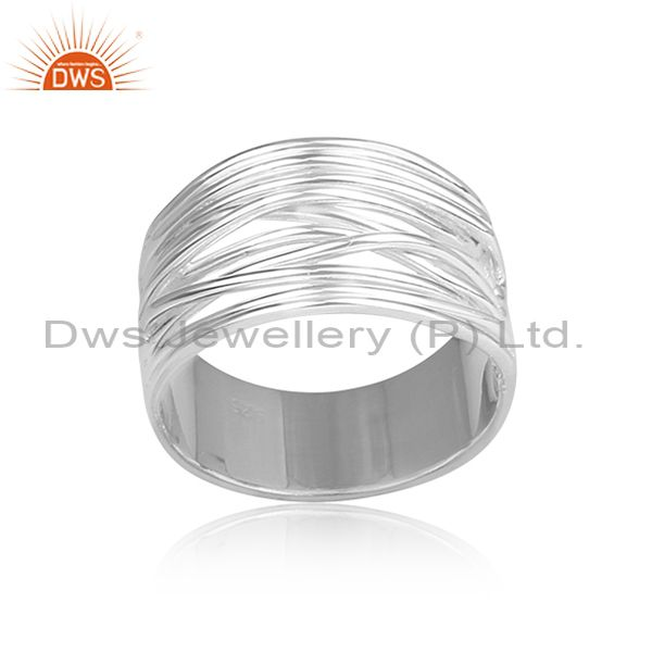 Handmade and handhammered fine 925 silver band style ring