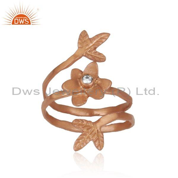 Cubic Zirconia Brass Rose Gold Plated Designer Twist Ring