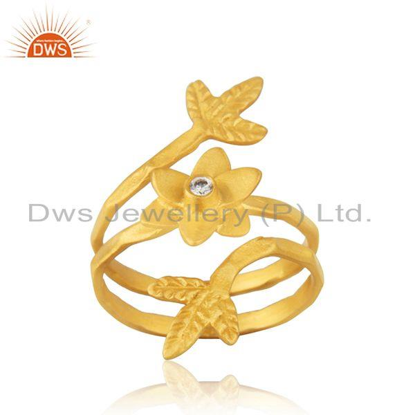 Yellow Gold Plated White Zircon Designer Fashion Ring Manufacturer from India