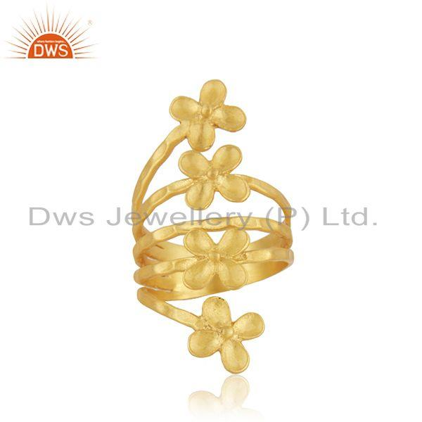 Leaf Design Yellow Gold Plated Brass Fashion Designer Ring Wholesaler