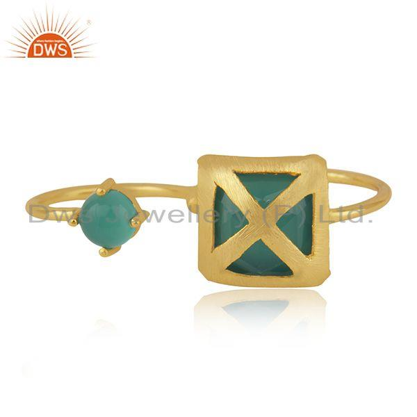 Designer Brass 18k Yellow Gold Plated Fashion Green Onyx Gemstone Ring Wholesale