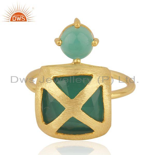 Green Onyx Gemstone Gold Plated Brass Fashion Designer Ring Manufacturer India