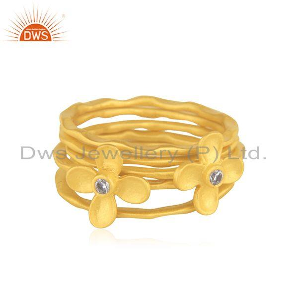 Manufacturer Gold Plated Designer Brass Fashion 5 Ring Set Jewelry