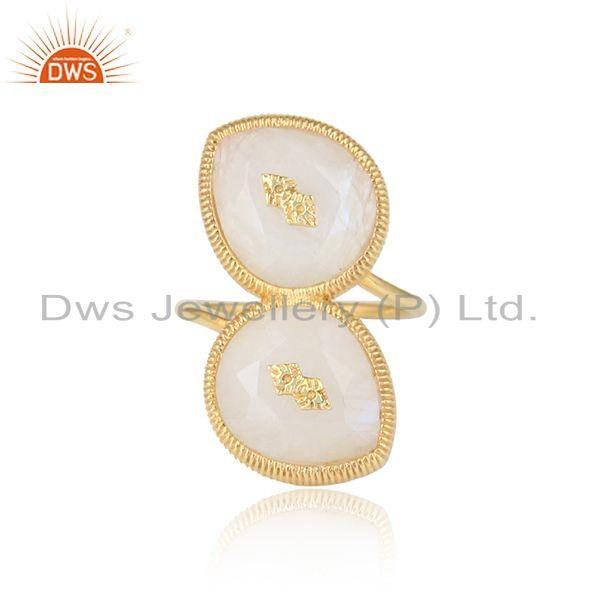 Rainbow Moonstone Designer Brass Gold Plated Fashion Rings