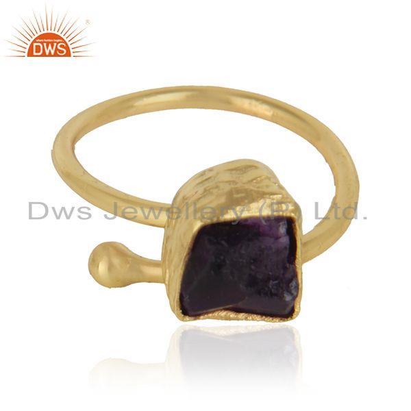 Rough amethyst gemstone handmade 18k gold plated brass rings