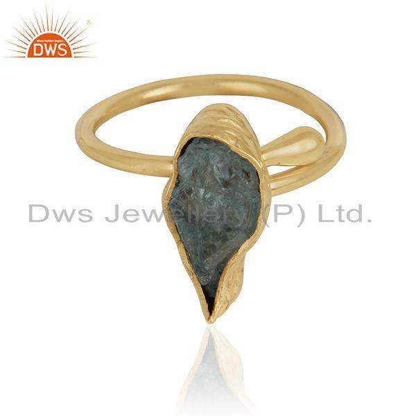 Rough aquamarine gemstone designer gold plated brass ring jewelry