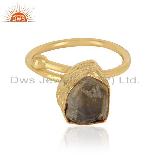 18k Gold Plated Rough Citrine Gemstone Designer Brass Rings