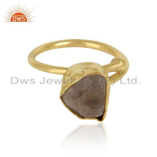 Rough crystal quartz gemstone 18k gold plated girls brass rings