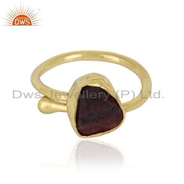 Gold Plated Designer Brass Fashion Rough Garnet Gemstone Rings