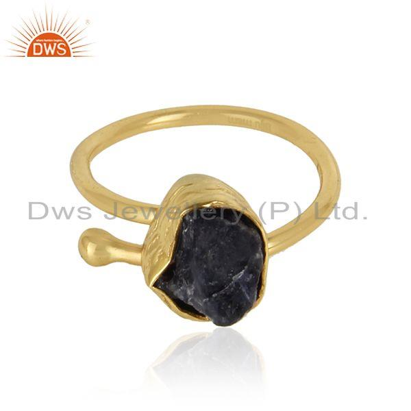 Rough iolite gemstone 18k gold plated girls brass fashion rings