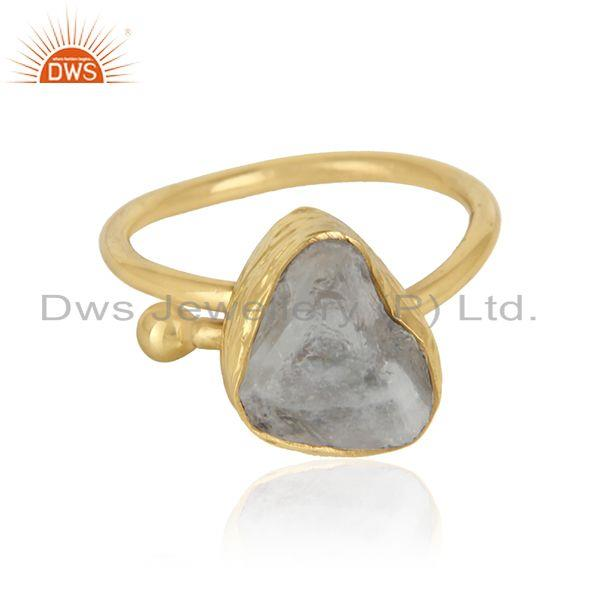 Rainbow moonstone womens gold plated brass designer fashion rings