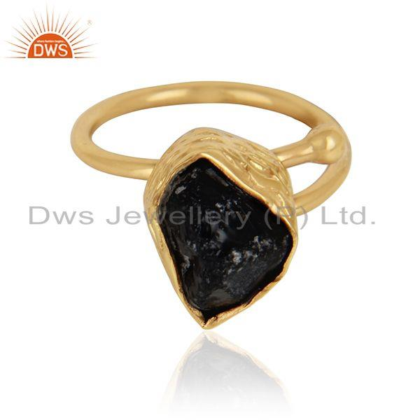 Rough smoky quartz gemstone handmade gold plated brass rings