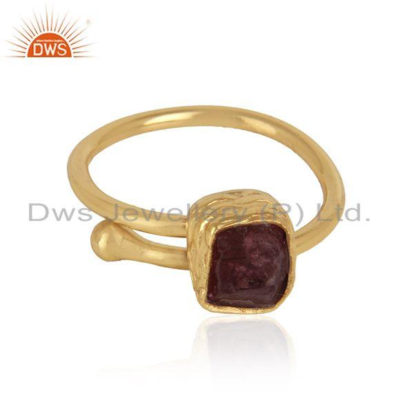 Rough pink tourmaline gemstone gold over brass fashion ring