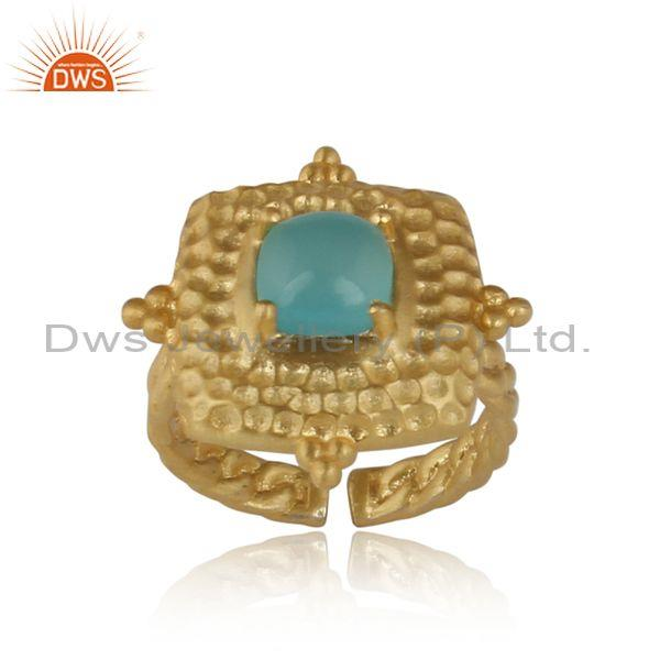 Handmade Gold On Silver Square Ring Set With Aqua Chalcedony