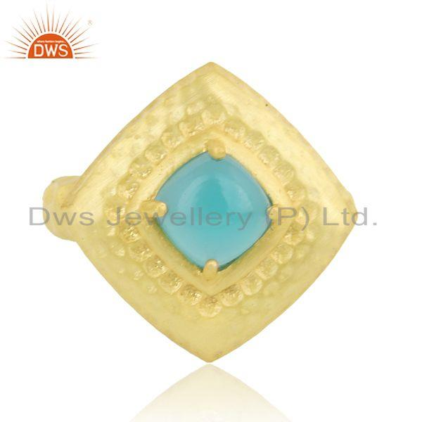 Hammered handcrafted fashion ring with gold on and aqua chalcedony