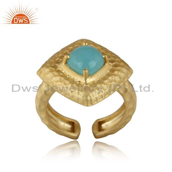 Hammered Aqua Chalcedony Set Gold On Silver Ethnic Bold Ring