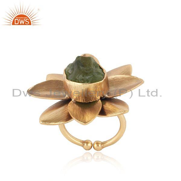 Handmade Textured Gold on Fashion Ring with Rough Peridot