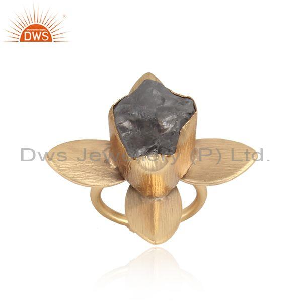Textured leaf gold on fashion ring with rough crystal quartz