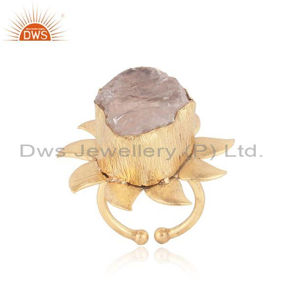 Handmade Floral Design Gold on Fashion Ring with Rose Quartz