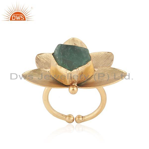 Textured leaf design gold on fashion ring with rough fluorite