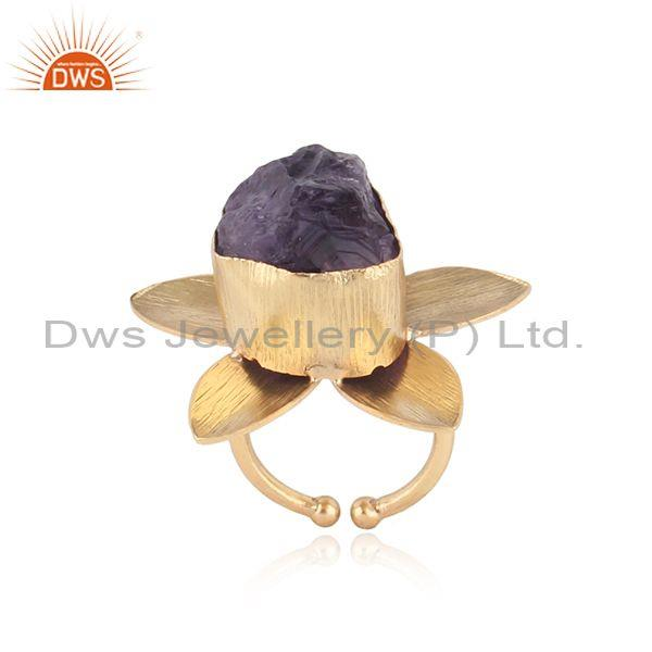 Textured Leaf Design Gold on Fashion Ring with Rough Amethyst