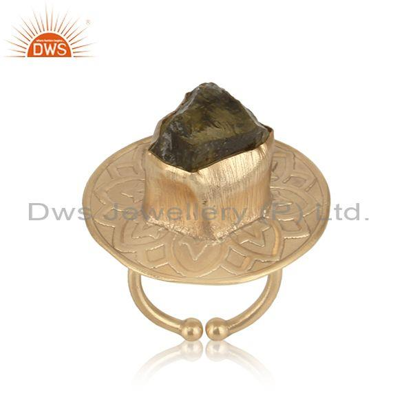 Handmade Textured Gold on Fashion Ring with Rough Lemon Topaz