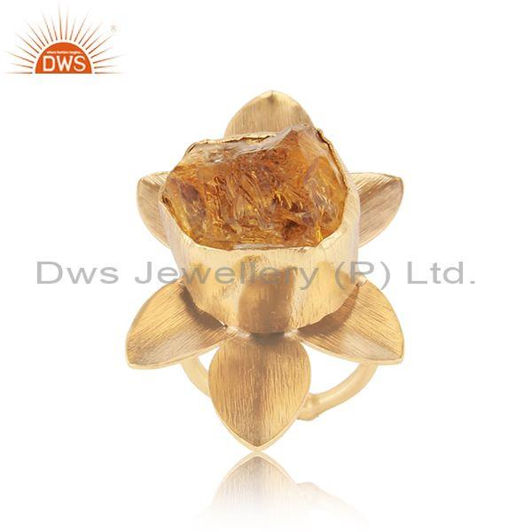 Textured Leaf Design Gold on Fashion Ring with Rough Citrine