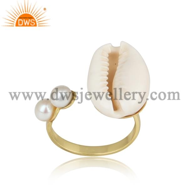 Double Pearl And Cowrie Brass Gold Adjustable Ring