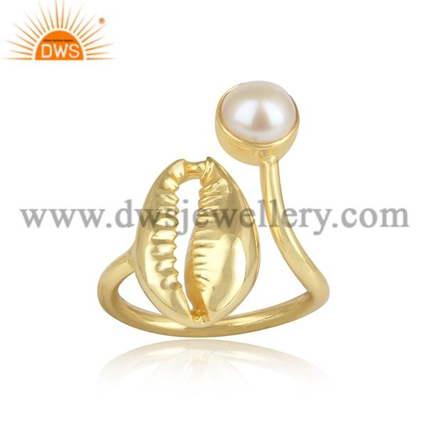 Pearl Set Facny Brass Gold Adjustable Ring
