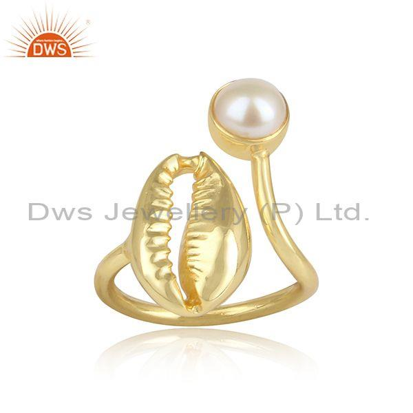 Pearl set god on sterling silver cowrie design classic ring