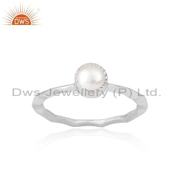 Pearl Set Fine 925 Sterling Silver Hammered Crown Fancy Ring