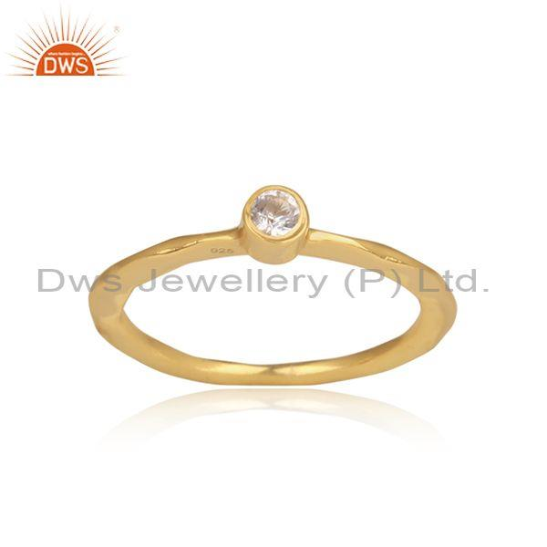 White topaz set hammered gold on 925 silver statement ring