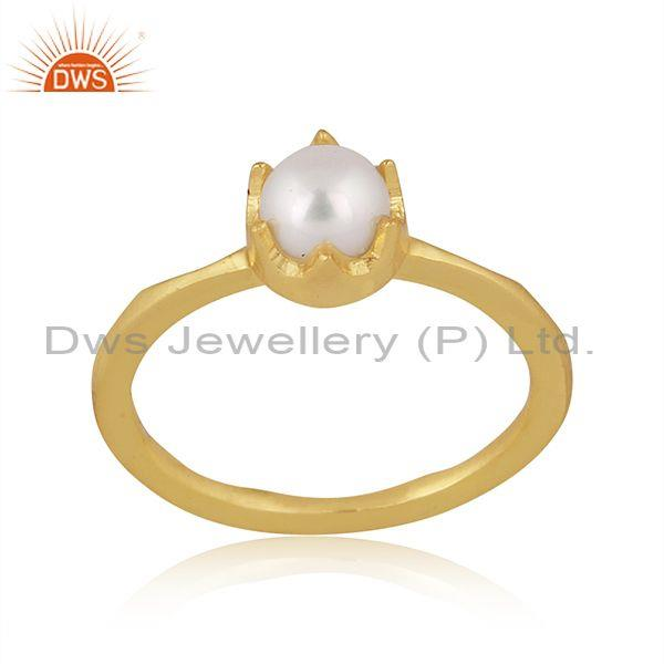 Pearl set gold on sterling silver designer round crown ring