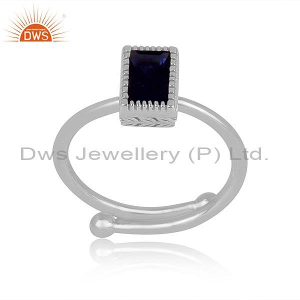 Rectangle cut iolite set fine sterling silver classic ring