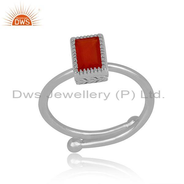 Rectangle cut red onyx set fine sterling silver classic ring