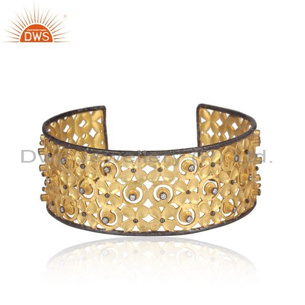 Handmade Cz Set Gold And Black Plated 925 Silver Ethnic Cuff