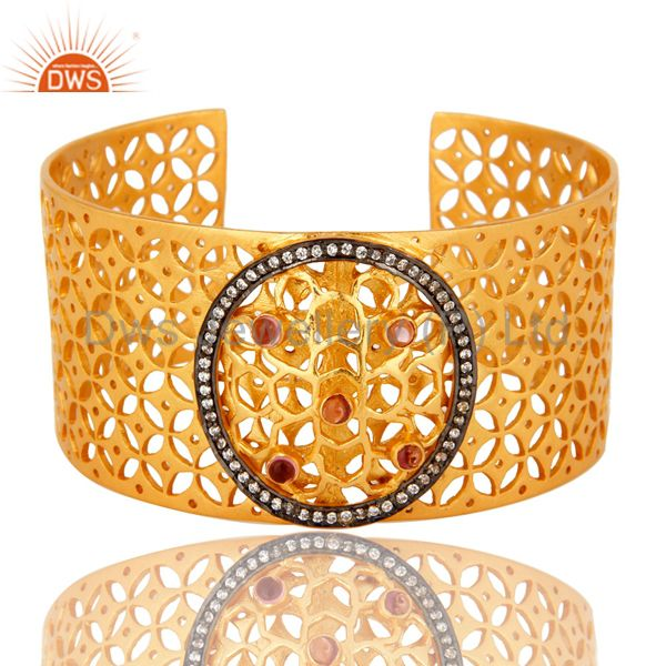 18k yellow gold plated brass filigree wide cuff bracelet with glass pink and cz