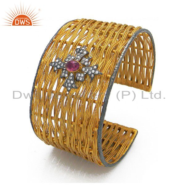 22k yellow gold plated brass pink tourmaline and cz woven wide cuff bangle