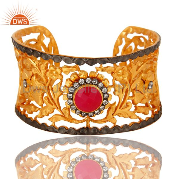18k yellow gold plated brass leaf filigree cuff bracelet with peach chalcedony