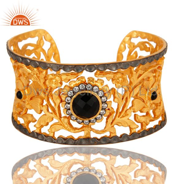 24K Gold Plated Black Onyx And CZ Handcrafted Filigree Wide Cuff Bracelet