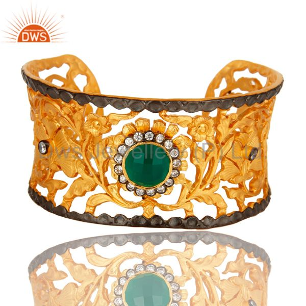 Green Onyx And White Zircon 18K Yellow Gold Plated Designer Cuff Bracelet