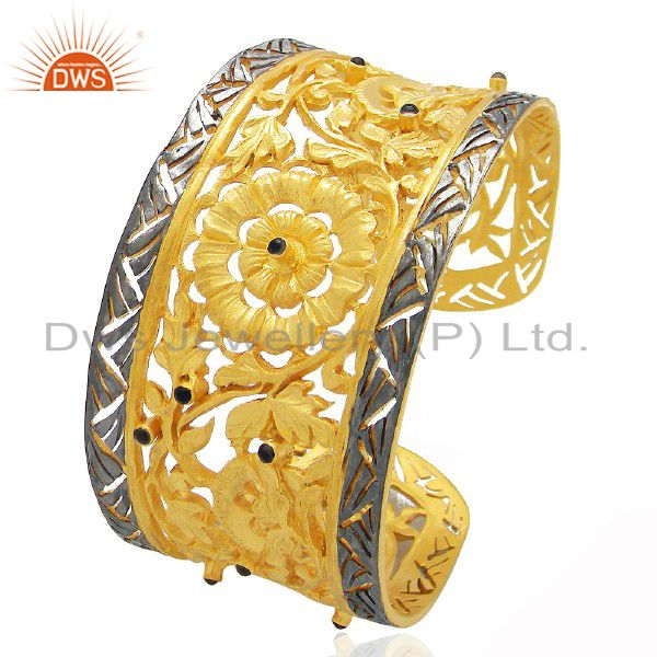 24k yellow gold plated brass smoky quartz floral filigree wide cuff bracelet