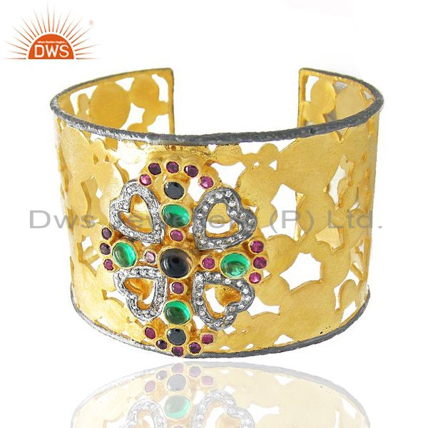 22k yellow gold plated brass smoky quartz and cz bridal fashion cuff bracelet