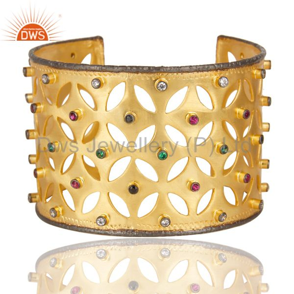 24k yellow gold plated multi cubic zirconia fashion wide cuff bracelet bangle