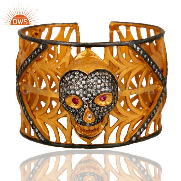 18K Yellow Gold Plated On Brass Clear Cubic Zirconia Skull Cuff Bangle Bracelet